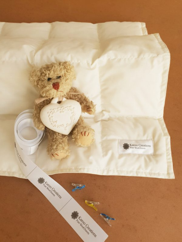 Pure wool baby cot duvet made in South Africa